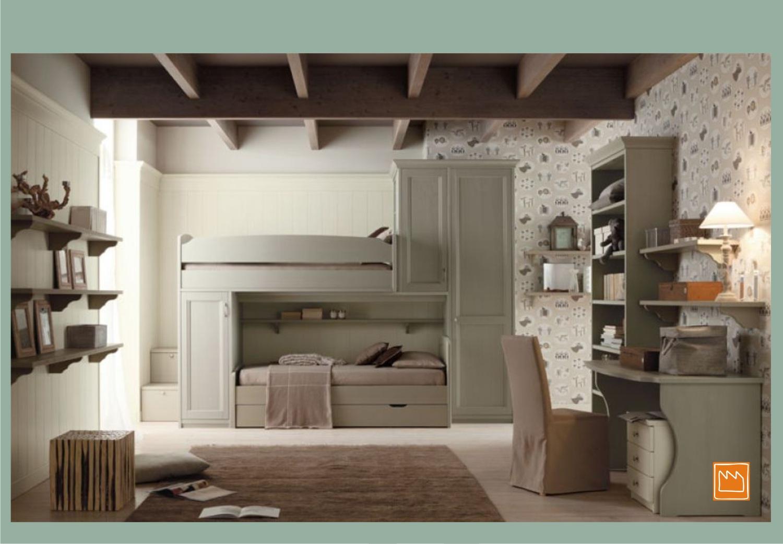 Parete attrezzata soggiorno - Camerette bambini legno naturale ...