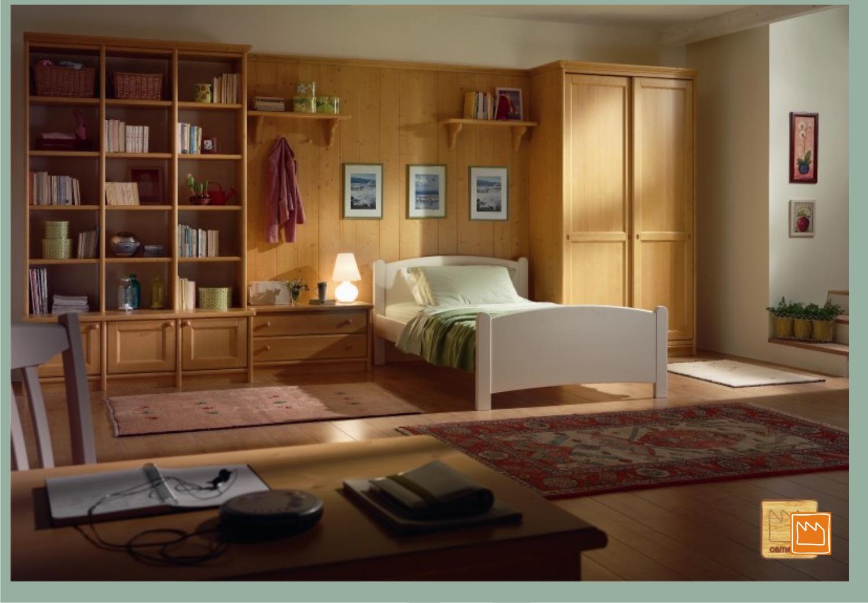 Camerette in legno massello con letti a terra