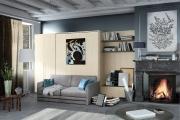 soggiorno con mobili letto
