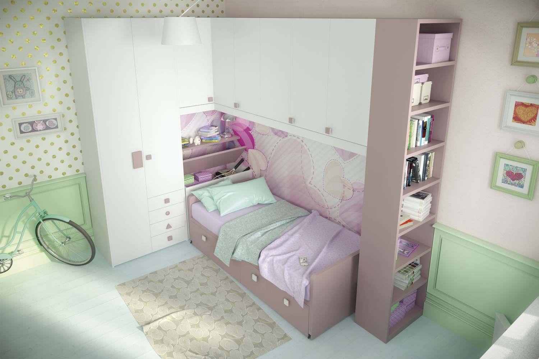 Camerina a ponte angolare rosa con libreria a giorno - Accessori camera ragazza ...