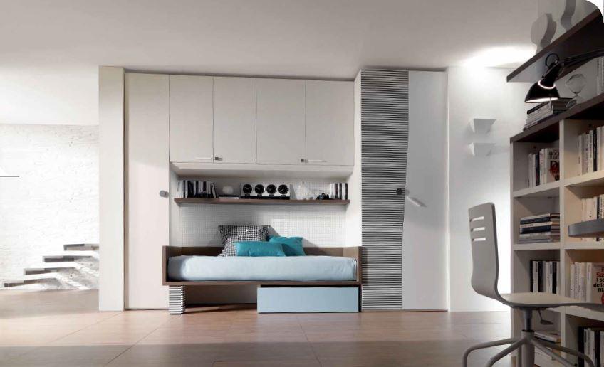 Ponte lineare con cabina armadio camerette moderne for Armadio studio