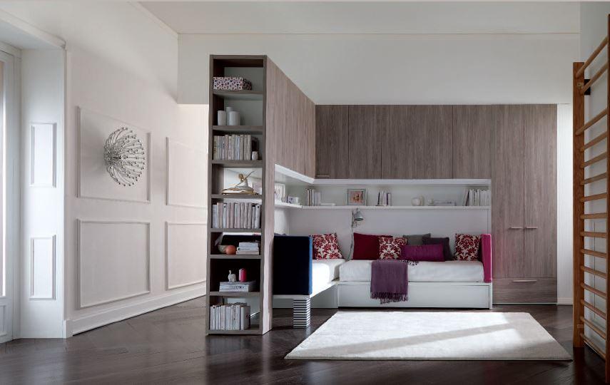 Cameretta ponte angolare con letti x bed imbottiti for Camerette per ragazze moderne