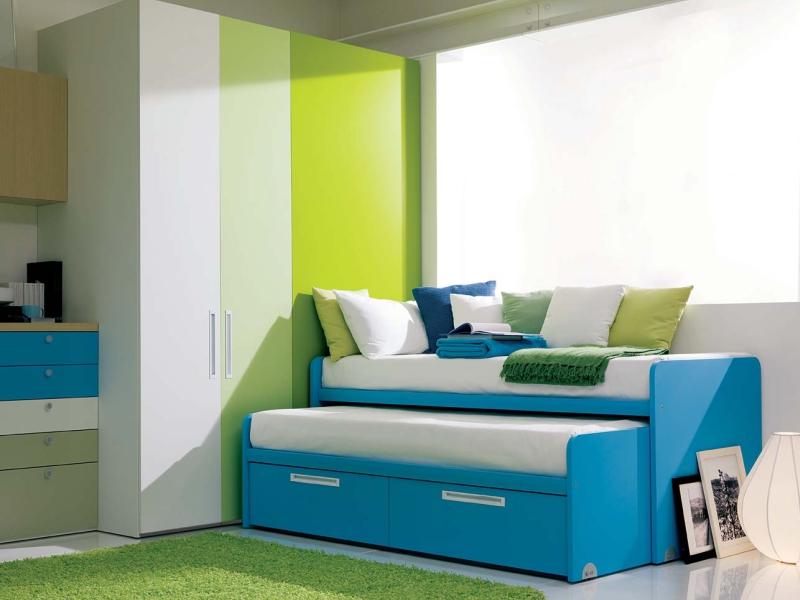 Cameretta dielle verde e azzurra for Letti scorrevoli per camerette