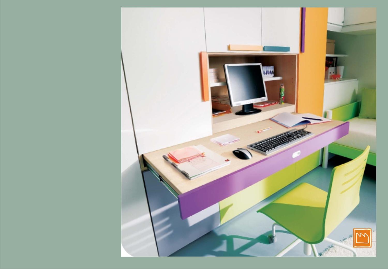 Letto a scomparsa con scrivania: libreria con scrivania a ...