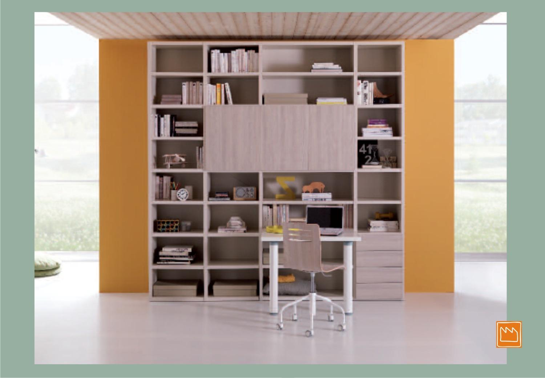 Scrivanie singole per la cameretta for Libreria con scrivania incorporata