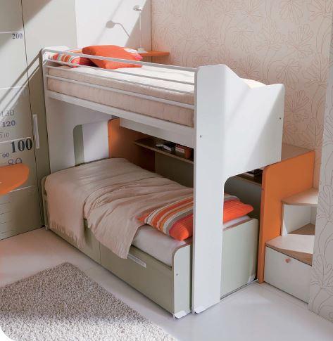 Cameretta a castello scorrevole per bambini - Misure letto a castello ...