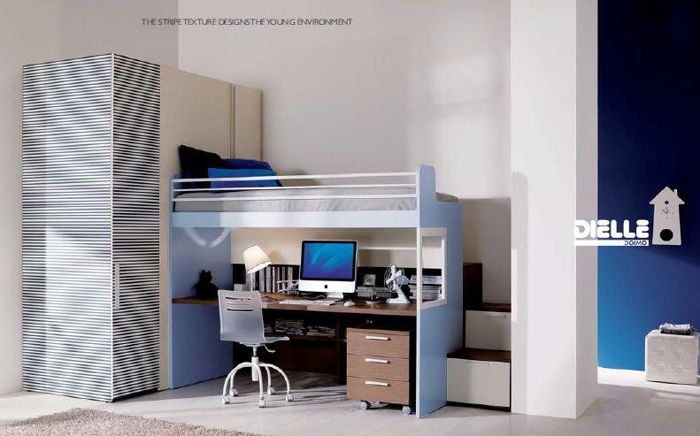 Castello merlino con scrivania e cabina armadio - Letto a soppalco con scrivania ...