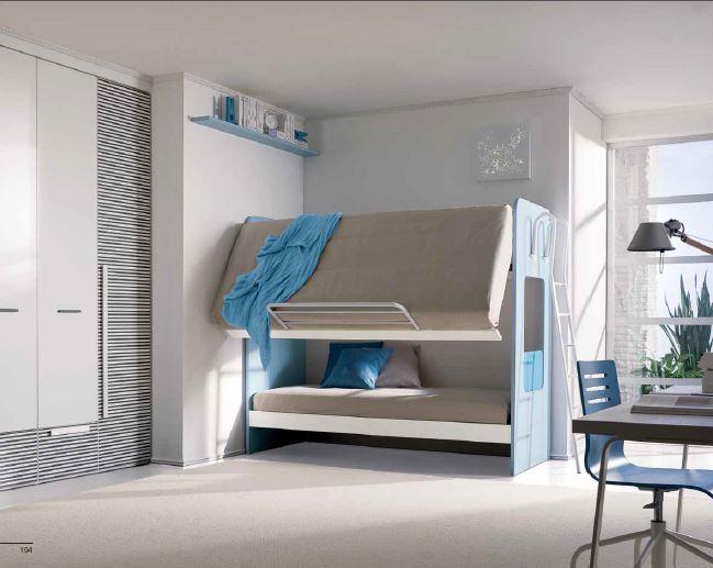 Letto a castello con meccanismo a ribalta per camera doppia - Camera con letto a castello ...