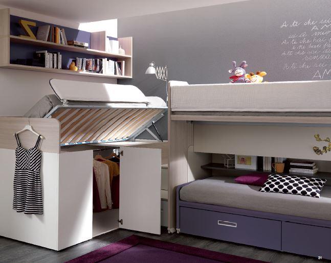 Tre letti sempre pronti con ampio guardaroba e scrivania - Camerette con 3 letti ...