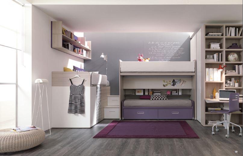 Tre letti sempre pronti con ampio guardaroba e scrivania for Idee camera tumblr