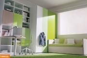 cameretta singola verde con cabina armadio