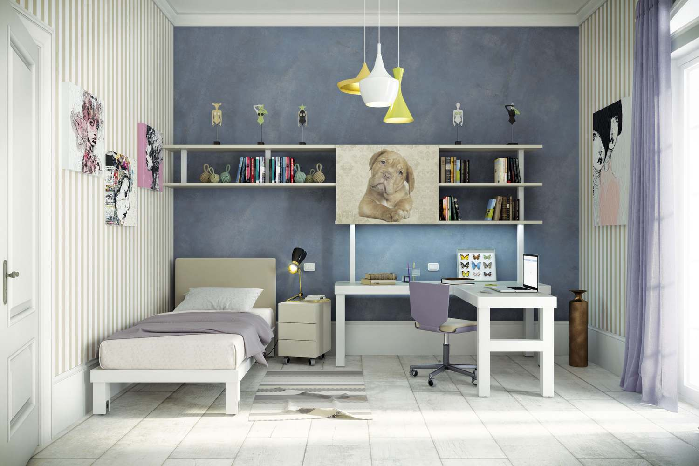 Cameretta singola con libreria tubo quadro for Tumidei camerette