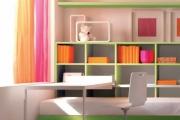 scrivania e libreria colorata