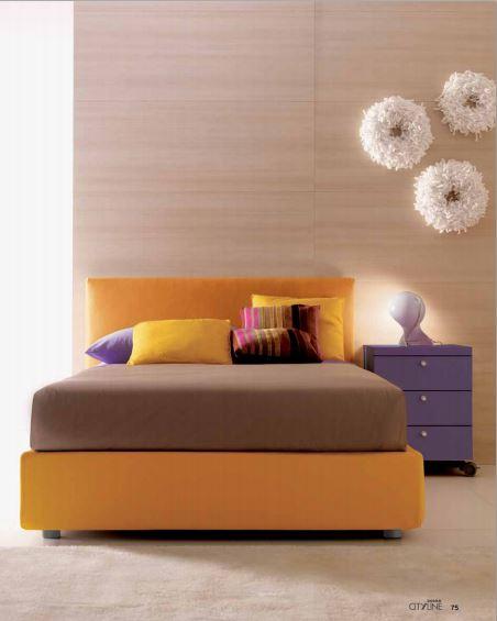 Camera singola con letto imbottito da una piazza e mezza - Composizione camera da letto ...