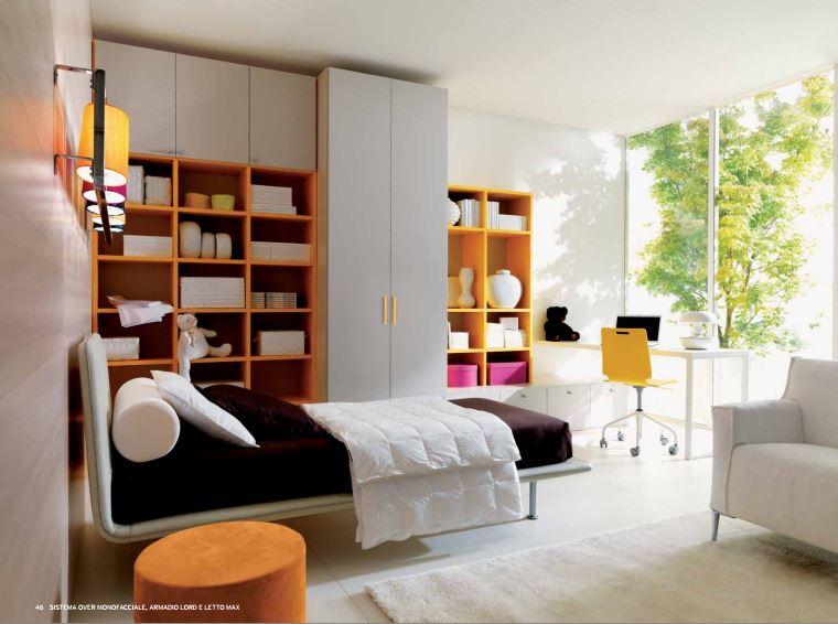 Cameretta semplice e moderna con letto in ecopelle
