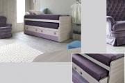 coppia di letti scorrevoli con terzo letto e cassetti