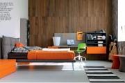 cameretta moderna letto imbottito testiera alta
