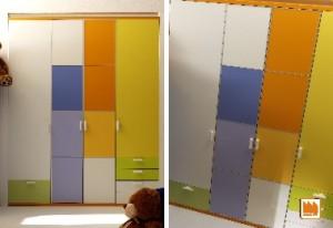 armadio battente colorato per cameretta
