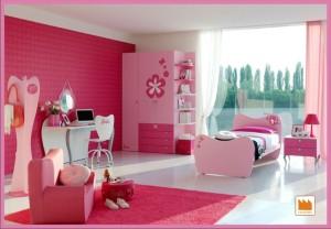 cameretta di barbie rosa