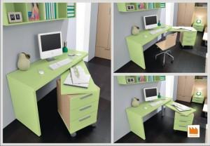 scrivania girevole con cassettiera
