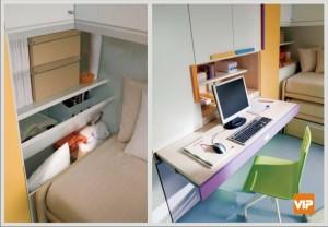 scrivania a scomparsa nell'armadio per cameretta