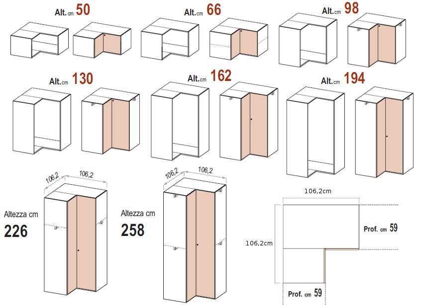 Le misure degli armadi dielle for Armadio misure
