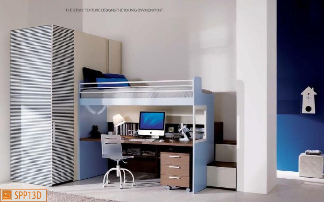 Castello merlino con scrivania e cabina armadio - Camerette con letto a soppalco ...
