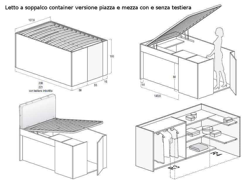 Misure Standard Letto Una Piazza E Mezza. Letto Harry A Scomparsa Da ...