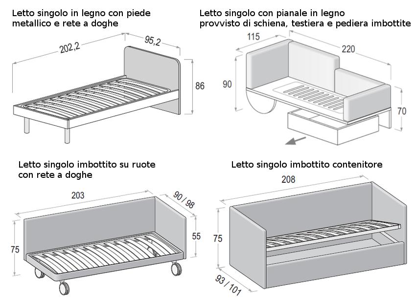 Le misure degli armadi dielle for Dimensioni letto singolo