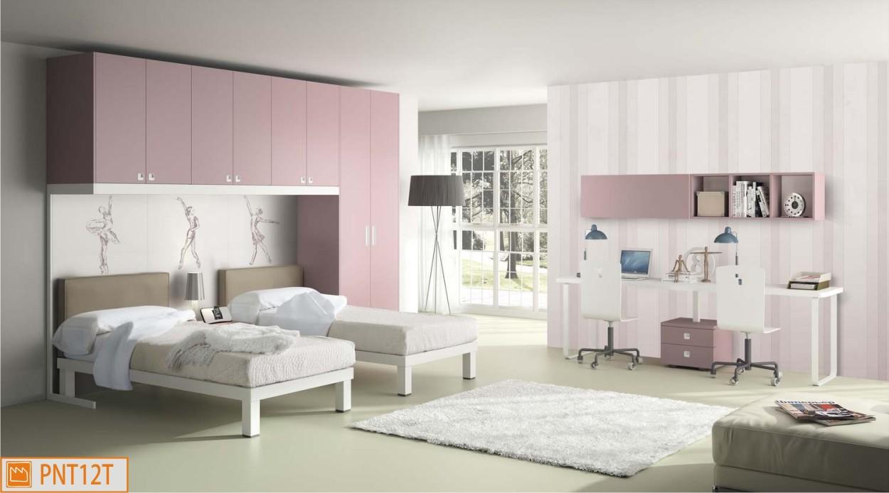 Cameretta doppia a ponte con scrivania for Cameretta rosa
