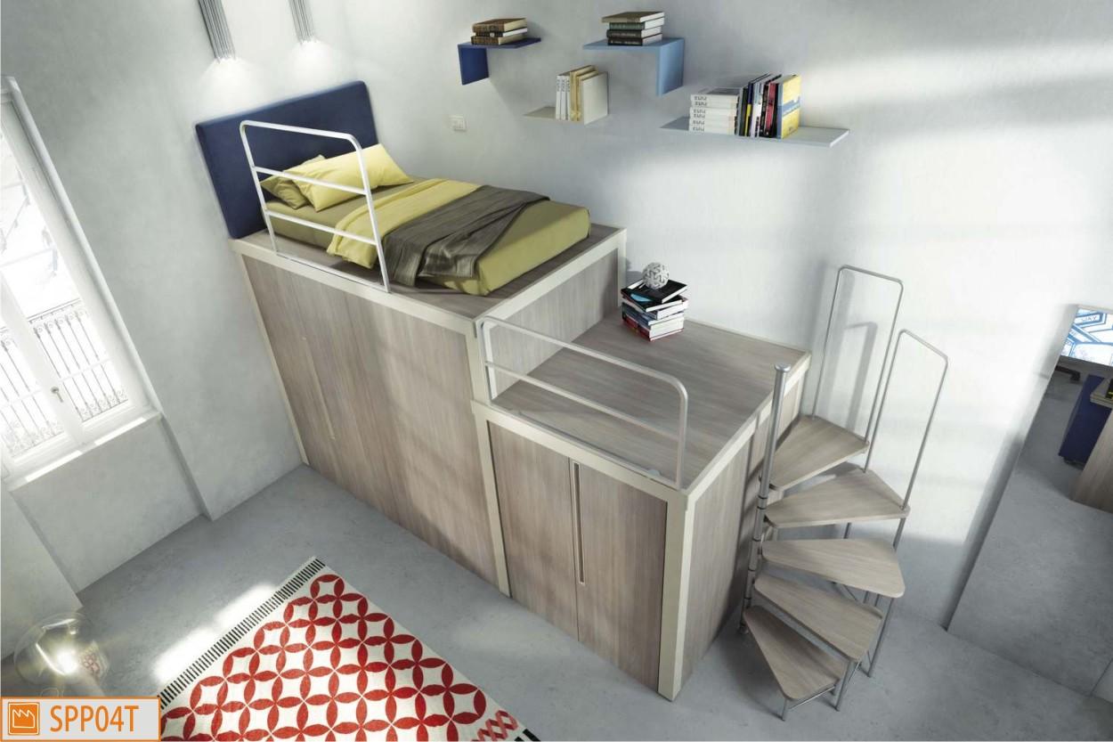 Letto rialzato piazza e mezza soppalchi fabbrica camerette - Soppalco in camera da letto ...