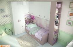 Camerina a ponte rosa con libreria a giorno
