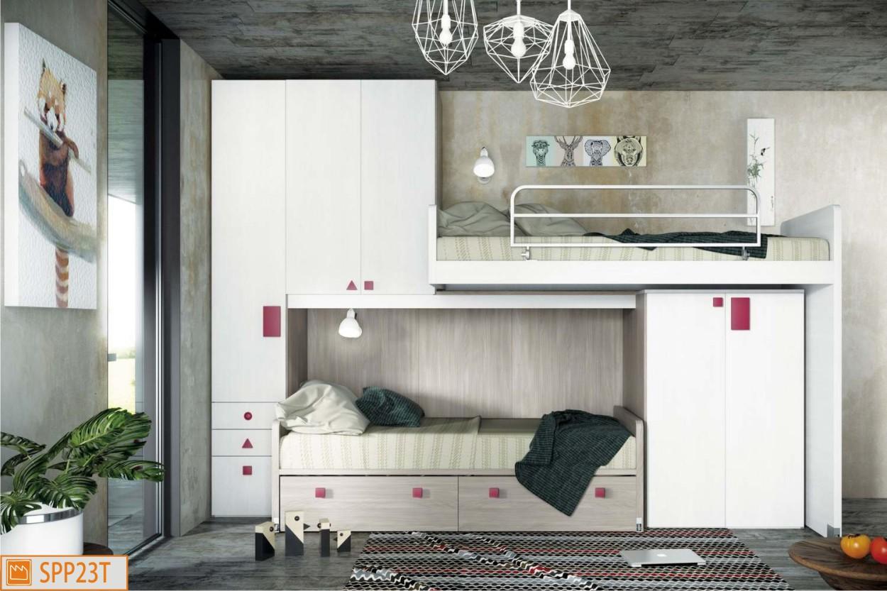 Disegno rustico soffitto for Letti a castello bassi