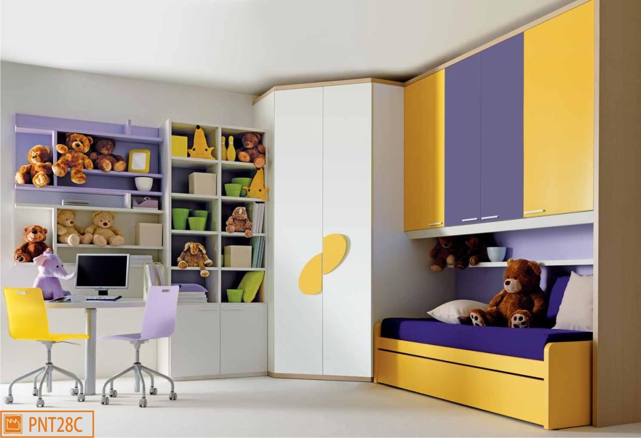 Cameretta a ponte per bambini con cabina armadio angolare - Camera da letto bambino ...