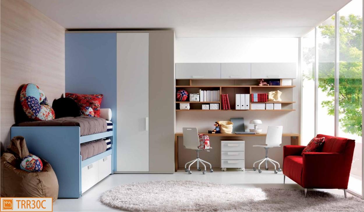 Cameretta per due funzionale e compatta fabbrica camerette - Camera da letto doppia ...