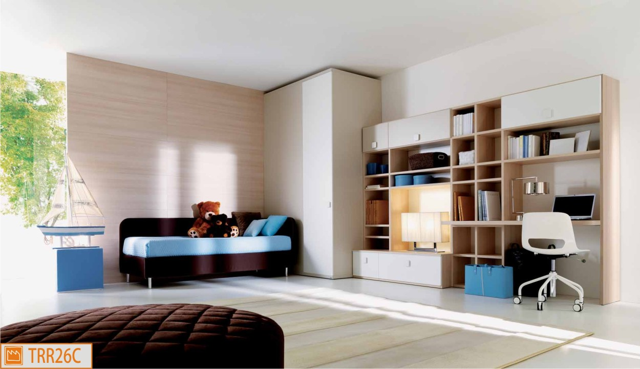 Cameretta con divano letto tessile for Parete attrezzata con divano