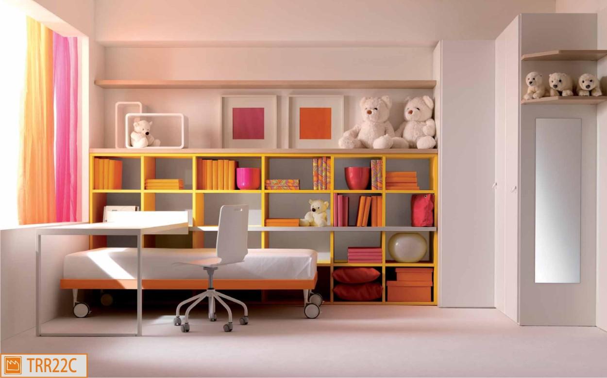 Cameretta Arancione Pareti : Cameretta singola con parete libreria e sommier su ruote