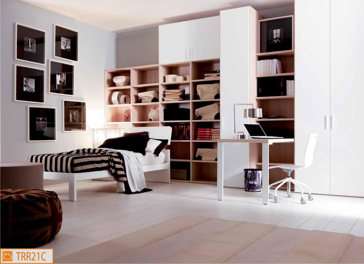 Cameretta singola in legno e bianco