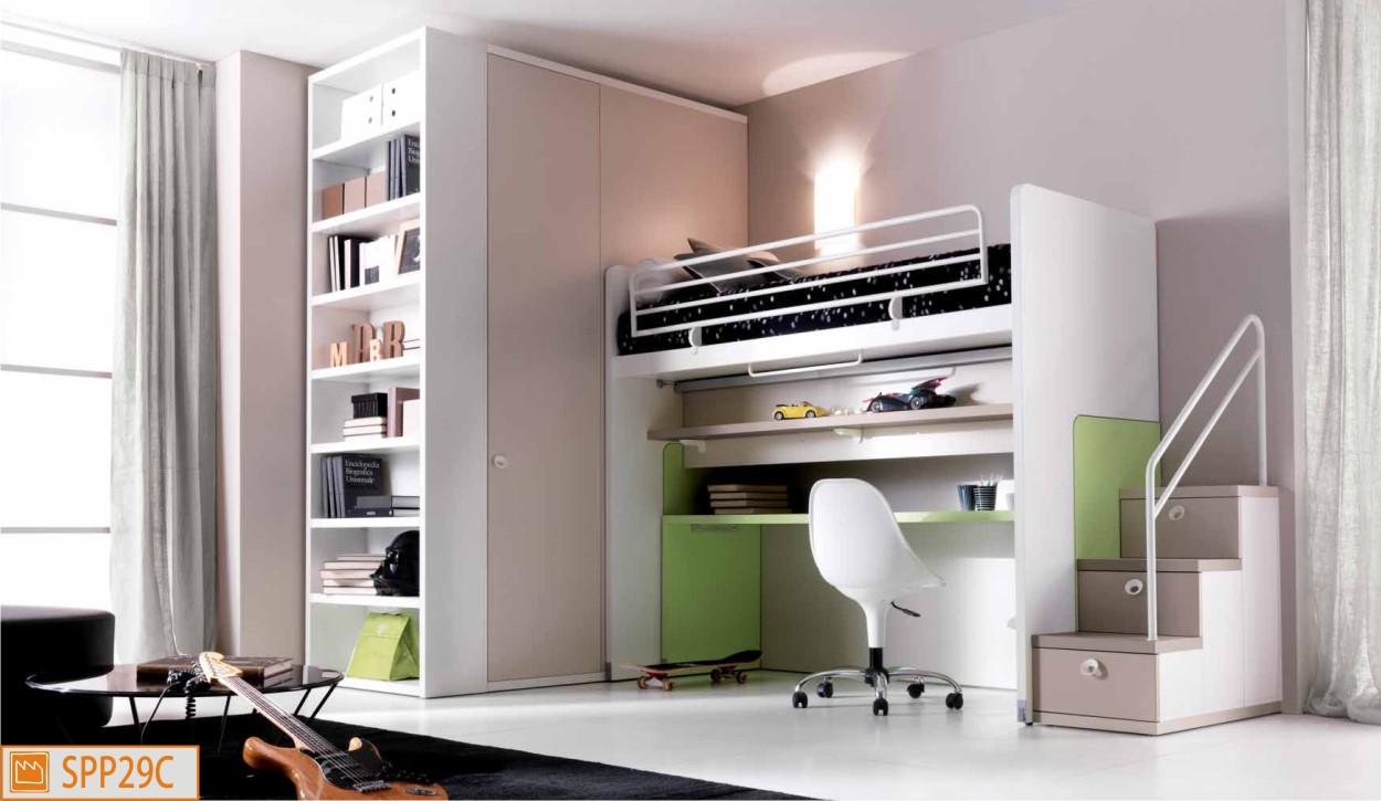 Cameretta letto a castello scorrevole con scrivania estraibile - Ikea camerette a soppalco ...