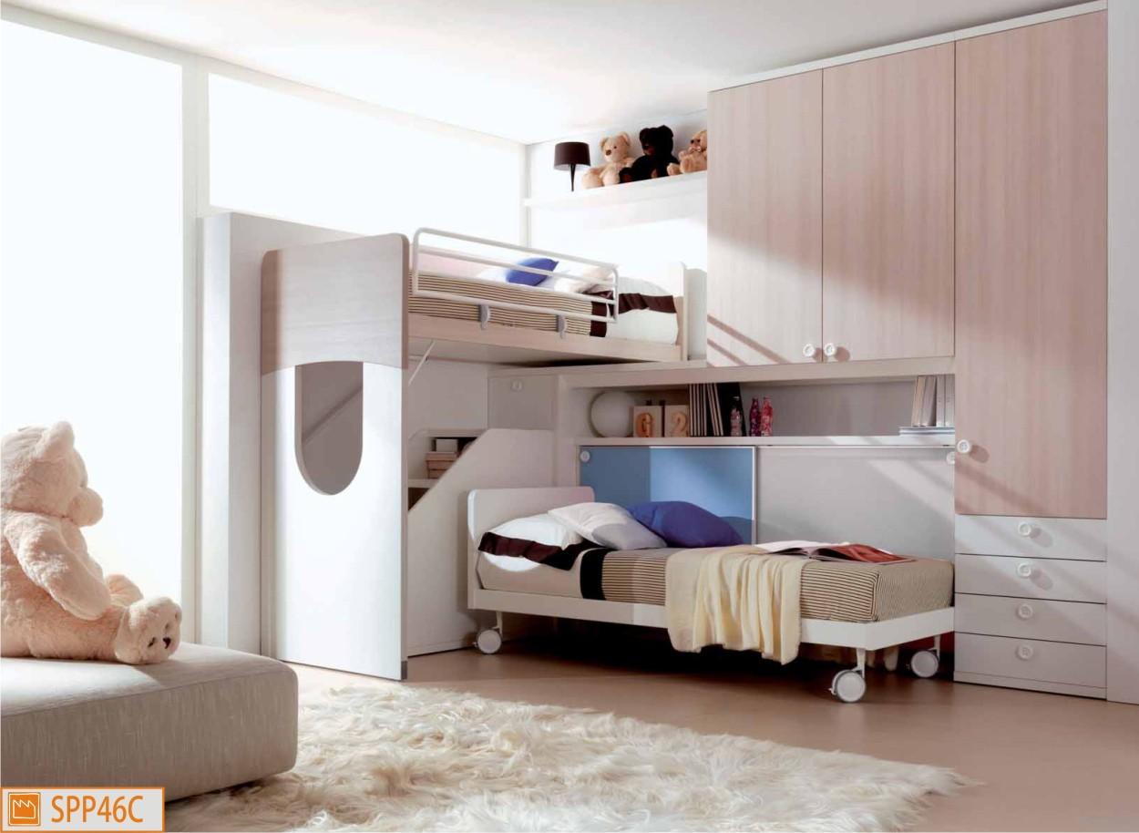 Cameretta a soppalco angolare in legno larice - Camerette con letto a soppalco ...