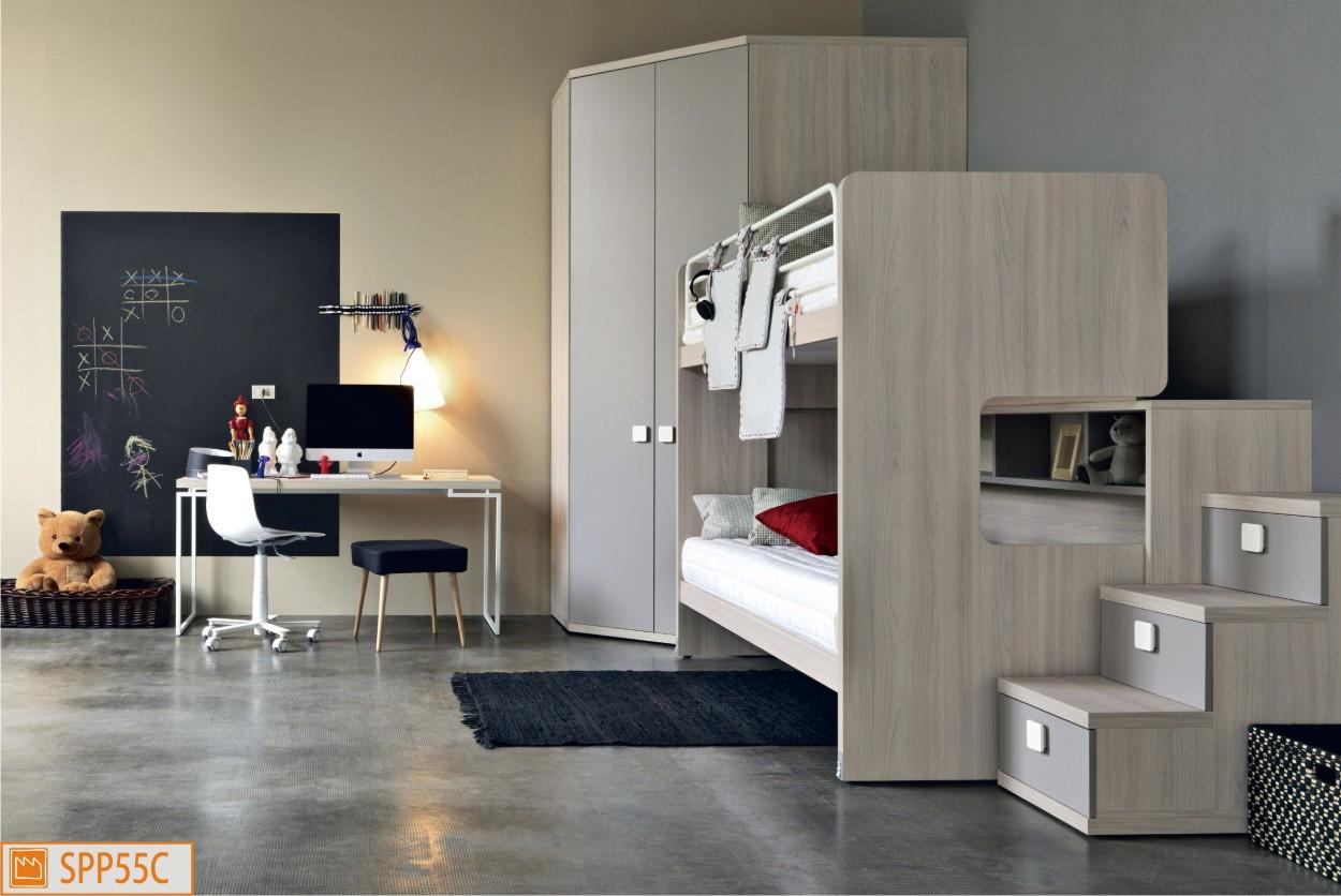 Cameretta in olmo con letto a castello scorrevole - Camere da letto singole moderne ...