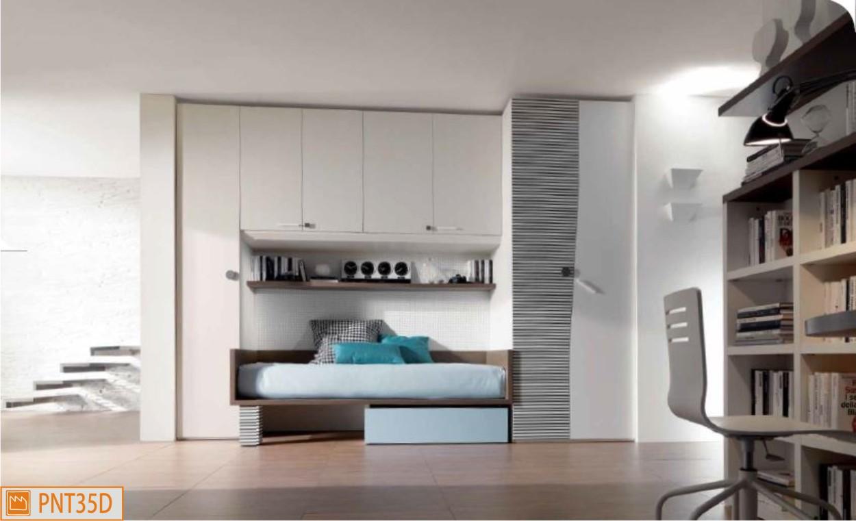Ponte lineare con cabina armadio: camerette moderne