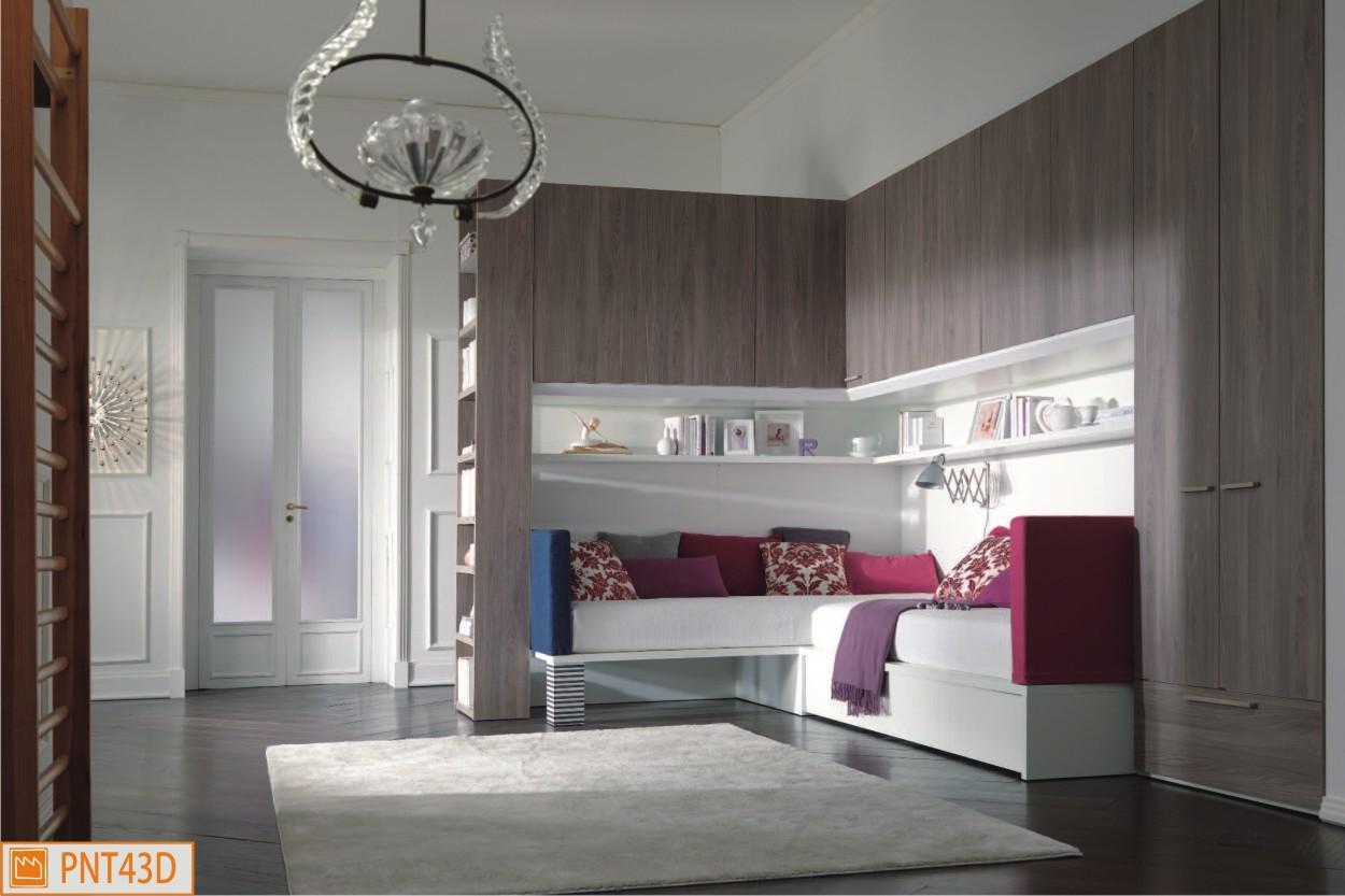 Cameretta ponte angolare con letti x bed imbottiti for Scrivanie angolari per camerette