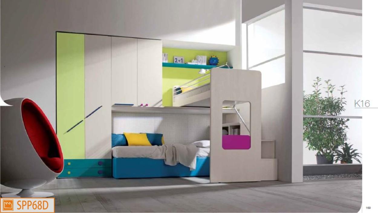 Cameretta a soppalco angolare con letto basso imbottito - Camerette con letto a soppalco ...