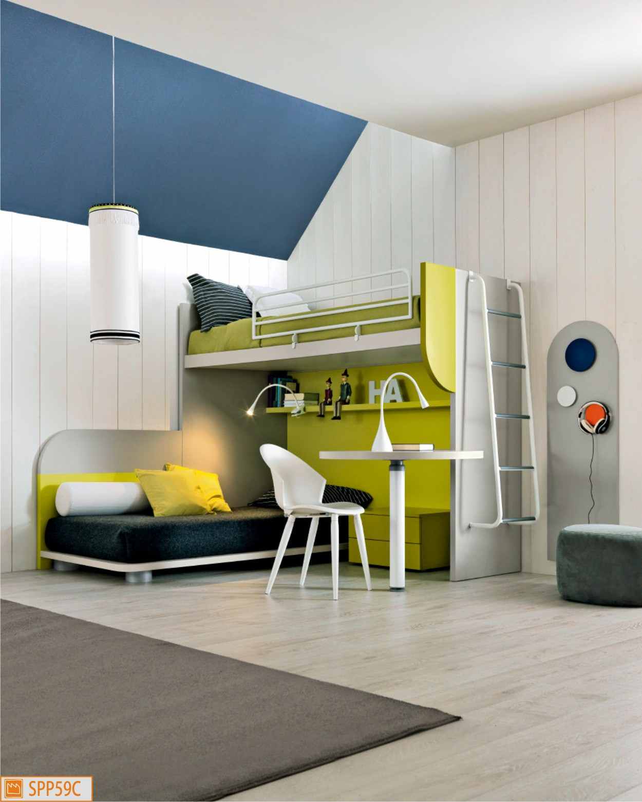 Cameretta a ponte angolare con letto - Camere da letto per ragazzi moderne ...