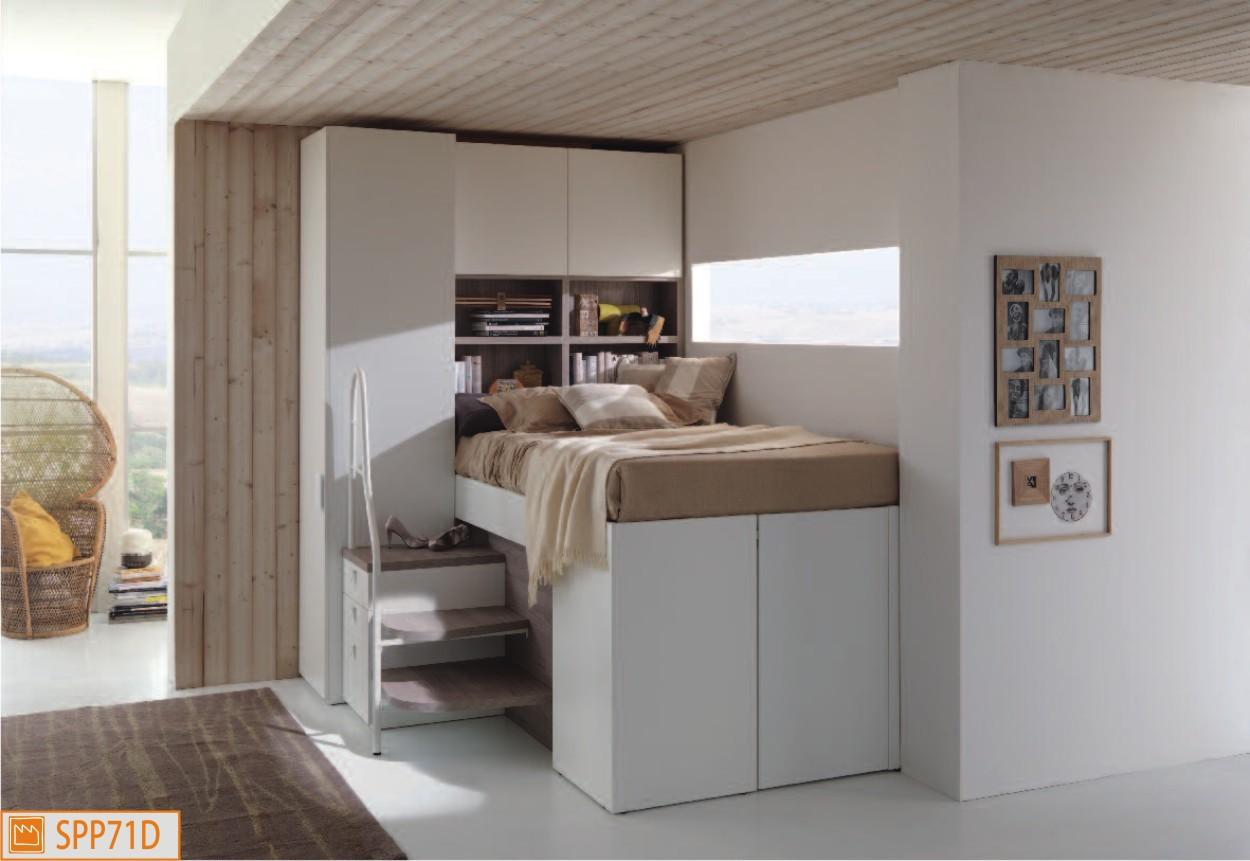 Letto piazza e mezza a soppalco for Camere da letto basso costo