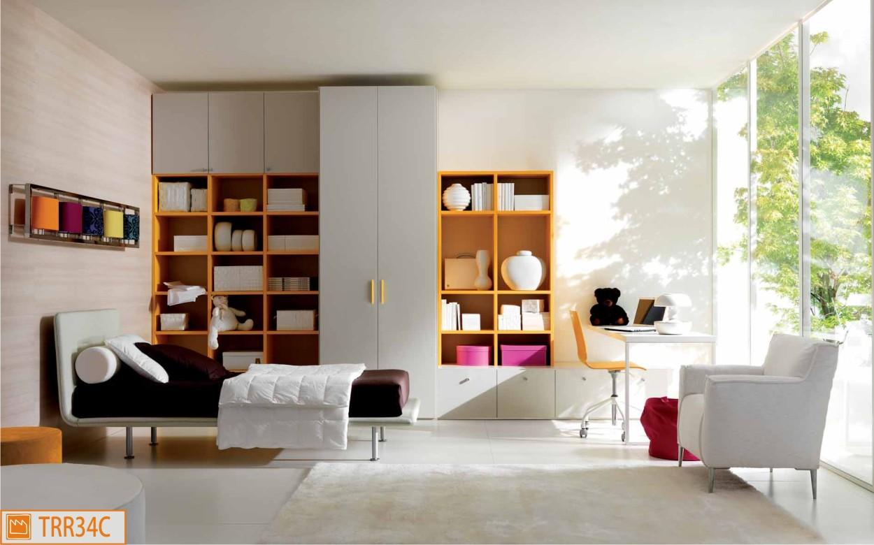 Cameretta semplice e moderna con letto in ecopelle - Camere da letto singole ikea ...