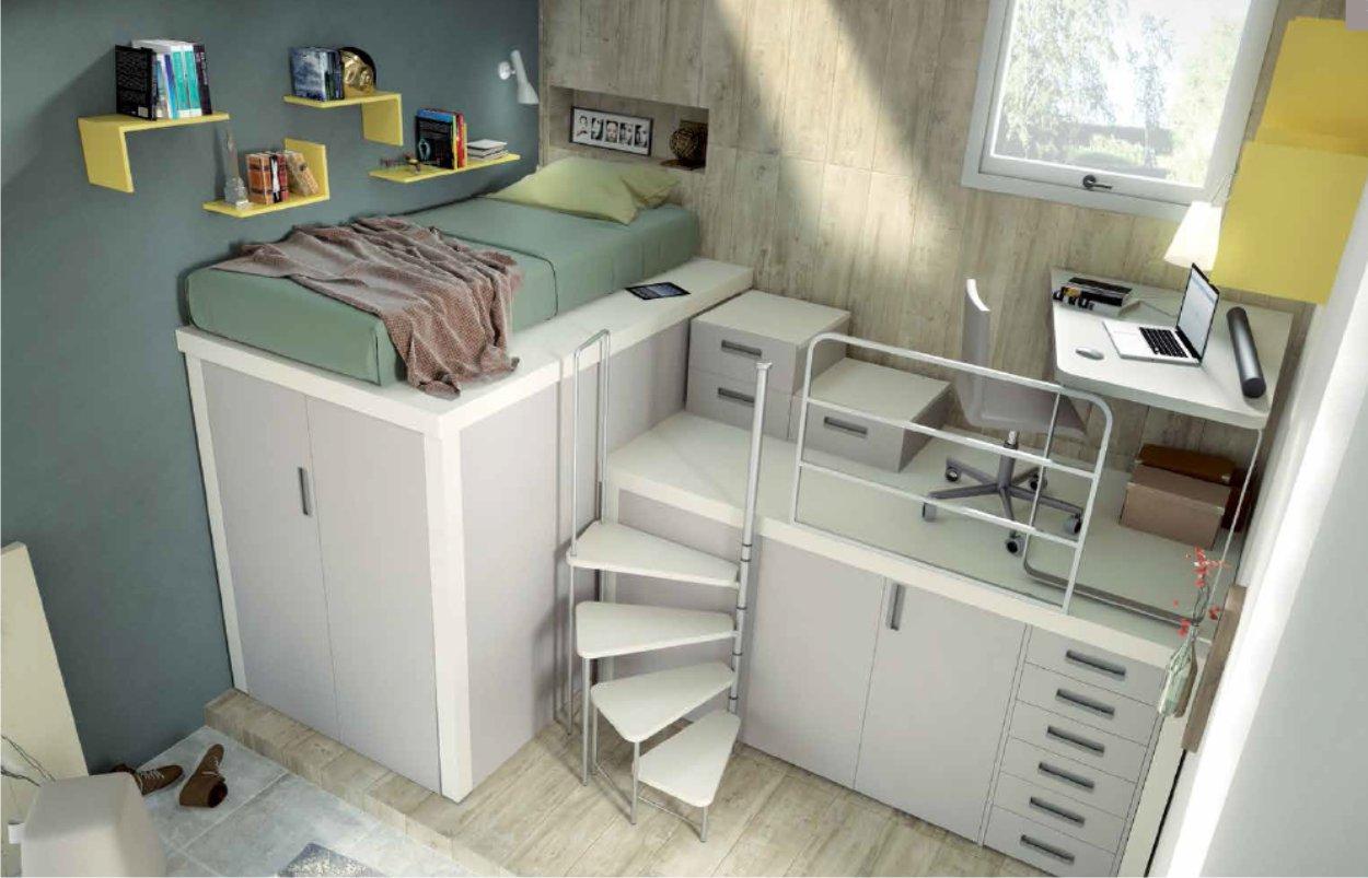 cameretta realizzata con mobili componibili