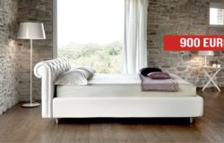 Letto matrimoniale king size in ecopelle bianca in outlet