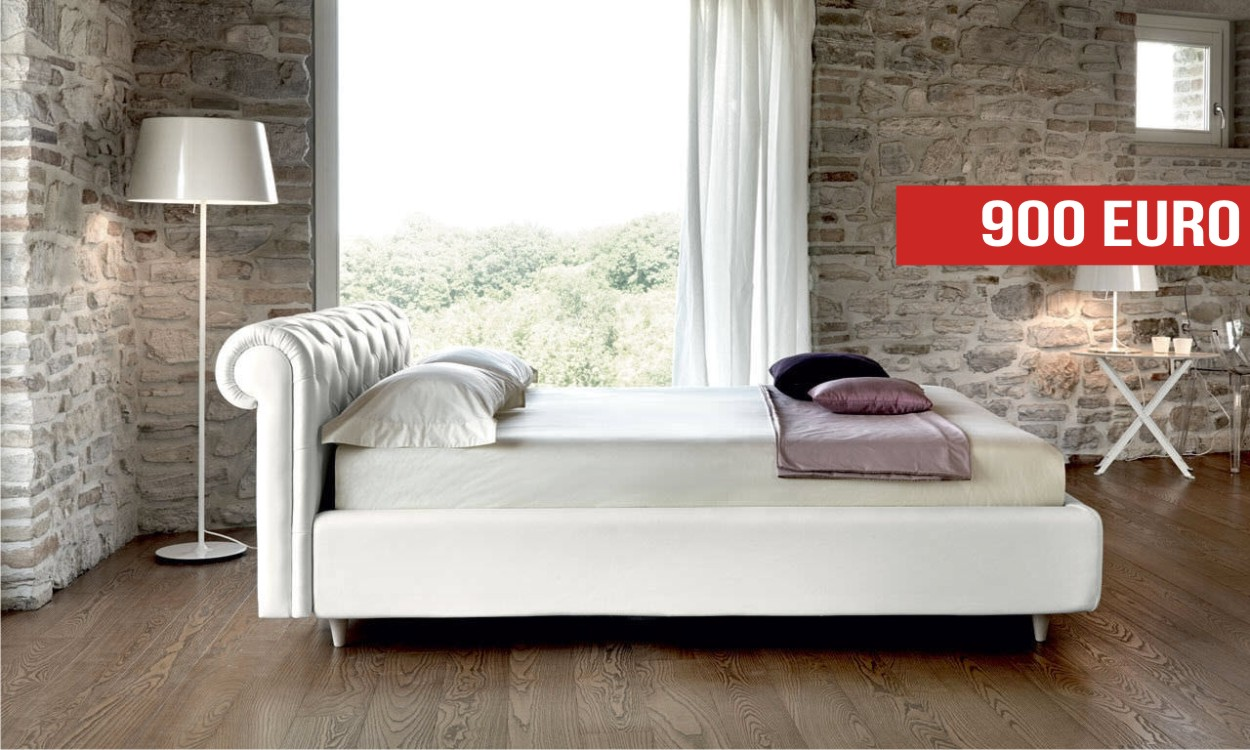 Letto matrimoniale kingsize ecopelle bianca Noctis: Outlet